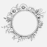 Cirkulär ram med blomma, blad och utrymme för text vektor