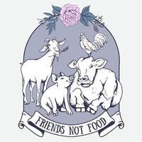 Lebensmittelt-shirt Entwurf des Freunds nicht mit Tieren und Blume vektor