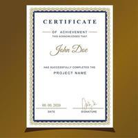 Vertikal guld- och blå inramad certifikat för uppskattning