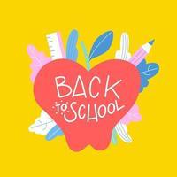 Netter Apfel mit Blättern und Bleistift zum zurück zu Schule