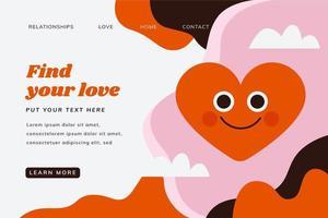 Platt kärlek landning sida mall med hjärta leende, moln och abstrakta former
