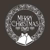 Frohe Weihnachtsdekoration mit Glocken und Kranz