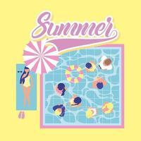 sommartid semester pool dag med människor som njuter av flottörer vektor
