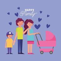 lycklig familj med barnvagn