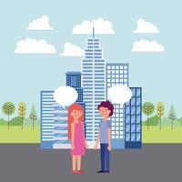 Par som har konversation i staden