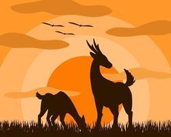 Zwei Rotwild, Mutter und Kind stehen, essend Gras in der Wiese bei Sonnenuntergang vektor