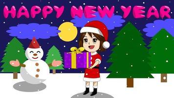 Flickorna håller presenter på natten under jul- och nyårssemestern