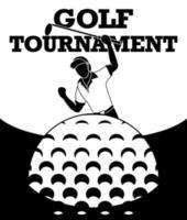 Ein Bild von einem Golfspieler, der froh ist, den Ball ins Loch zu schlagen und Punkte zu bekommen. vektor