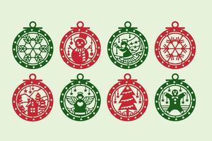 Roter und grüner Weihnachtsverzierungs-Satz