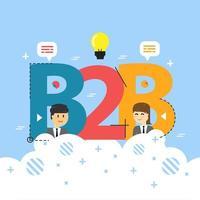 Begreppet ord B2B. Affär till företag. illustration koncept för webbplats