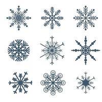 Vackra snöflingor uppsättning element vektor