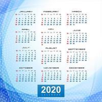 Säubern Sie schönen Wellendesignvektor der Kalenderschablone 2020