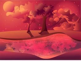 Magiskt landskap av en vårsommarsolnedgång under skymningsvektorn