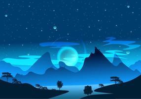 Fantasysoluppgång och stjärnhimmel full av dimma, dimma och skuggor