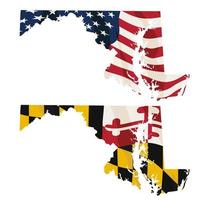 Maryland med USA-flaggan och Maryland-flaggan inbäddad vektor