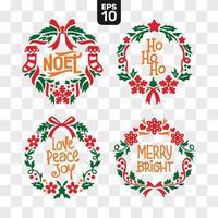 Winter-Weihnachtskranz-Sammlung vektor