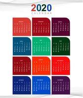 Kalenderdesign-Schablonenvektor des neuen Jahres 2020