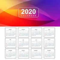 Färgglad kalenderdesignvektor för nytt år 2020