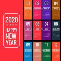 Kreativer bunter Hintergrundvektor des Kalenders 2020 des neuen Jahres