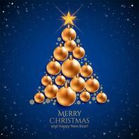 realistischer dekorativer Weihnachtsballbaum auf blauem Hintergrund