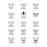 Ikonensatz Wäschereisymbole, Vektorillustrationsdruck-Aufkleberstoff.