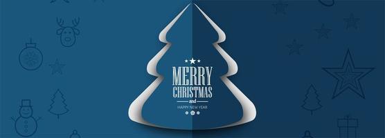 elegant julgran kort firande banner bakgrund vektor