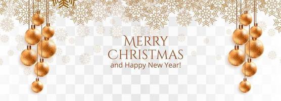 snygga gyllene julgranskulor och snöflingor vektor