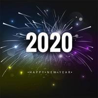 2020 Text-guten Rutsch ins Neue Jahr-Feiertags-Vektor-Hintergrund-Feuerwerke