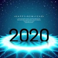 Futuristisches glühendes Textdesign des neuen Jahres 2020