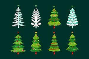 Julgran i olika stilar med snöflinga, lökar och band
