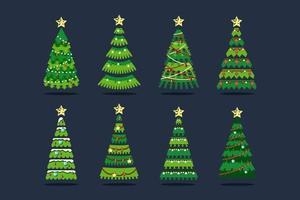 Julgran i olika stilar med snöflinga, lökar och band vektor