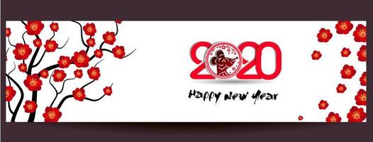 Lyckligt nytt kinesiskt år 2020-banner vektor