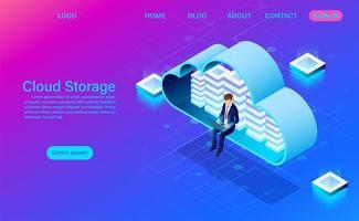 Cloud-Storage-Technologie und Networking-Konzept mit Mann auf Laptop in der Wolke vektor