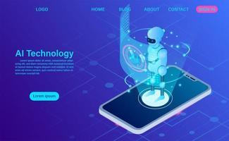 artificiell intelligensrobotteknologi i mjukvarumobiltelefon vektor