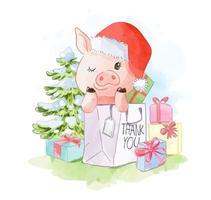 söt gris i shoppingväska