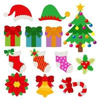 jul element objekt semester tecknad uppsättning