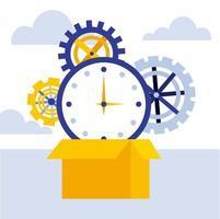 Geschäftskonzept Pappschachtel Uhrzeit Zahnräder