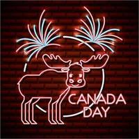 kanada dag neon skylt med älg vektor