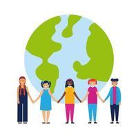 Kinder Hand in Hand vor der Erde vektor