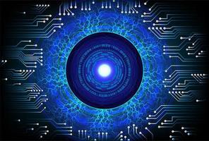 Abstraktes Cyberstromkreis-Zukunftskonzept des blauen Auges