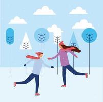 Glada människor skridskoåkning på vintern