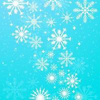 Blauer Hintergrund des Winters mit Schneeflockenvektor