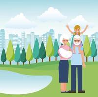 Morföräldrar i parken vektor