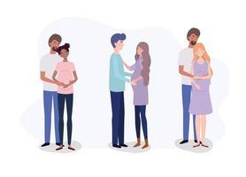 grupp älskare par graviditet karaktärer