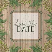 Speichern Sie den Datumsquadratrahmen mit Blättern im hölzernen Hintergrund