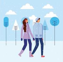 Lyckliga par som rymmer händer på vintern