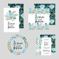 Hochzeitsblumenschablonensammlungskarten-Blumenentwurf vektor