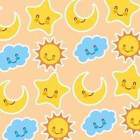 Sonne und Sterne mit Gesichtsmuster vektor