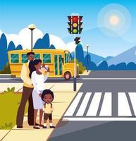 föräldrar med pojke som väntar skolbuss vektor