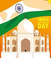 indisk självständighetsdag med flagga och taj majal vektor